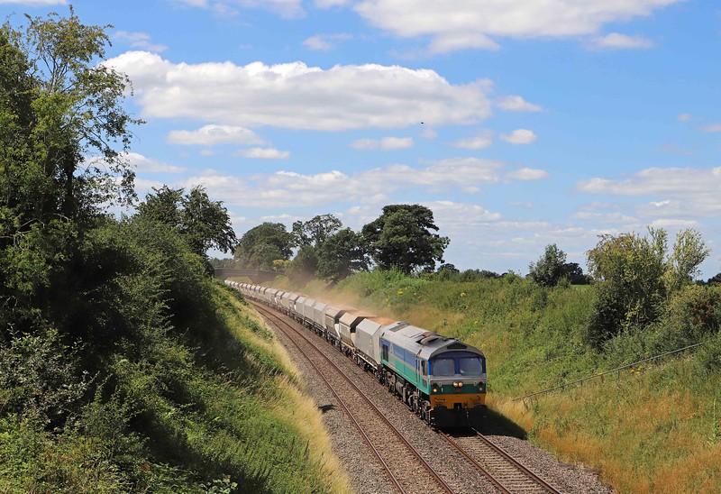 59002, 13.23 Whatley Quarry-Dagenham Dock, Witchcombe Farm, Great Cheverell, near Westbury, 20-7-20.