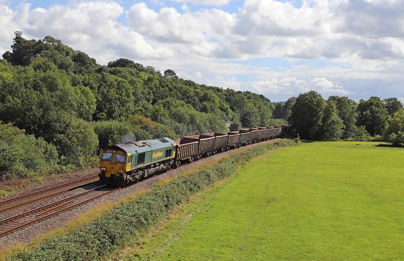 66605, 15.42 Exeter Riverside Yard-Whatley Quarry, Cullompton, 28-7-20.