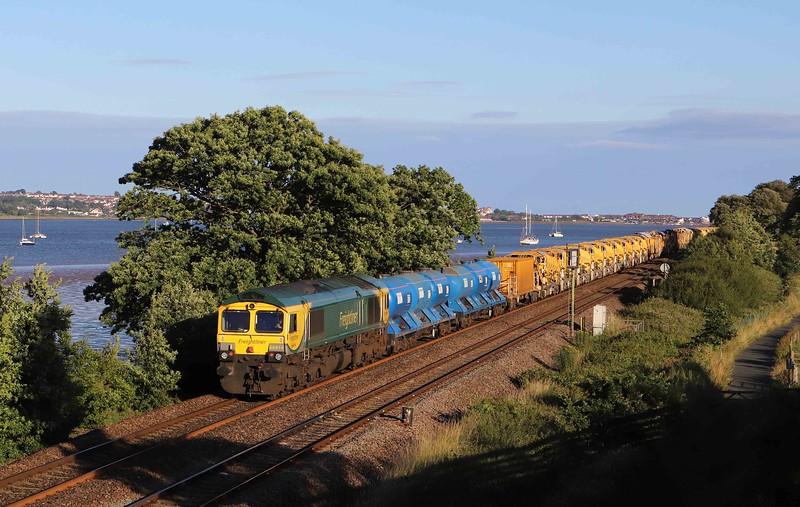 66596/66414, top-and-tail 17.52 Taunton Fairwater Yard-Totnes, Powderham, near Exeter, 1-7-20.