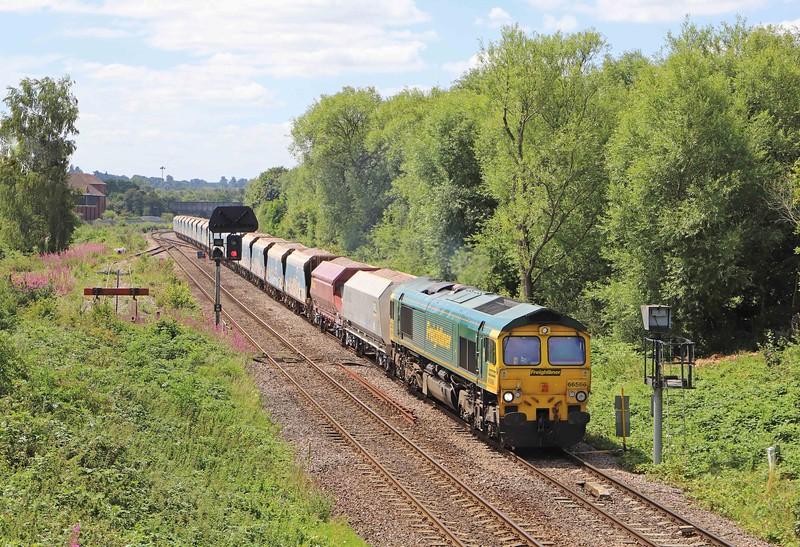 66566, 11.23 Merehead Quarry-Wootton Bassett, Hawkeridge Junction, Westbury, 20-7-20.