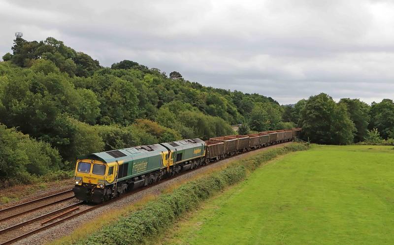 66420/66505, 15.42 Exeter Riverside Yard-Whatley Quarry, Cullompton, 27-7-20.
