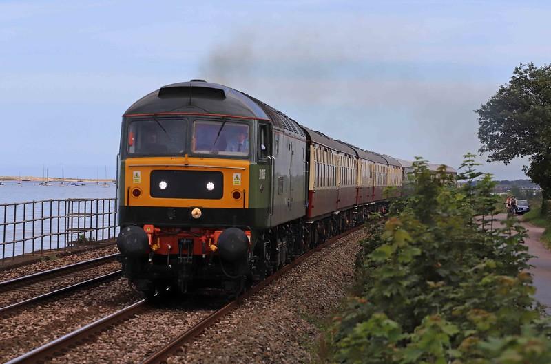 47805, 16.28 Paignton-Peterborough, The English Riviera Statesman, Powderham, near Starcross, 18-7-20.