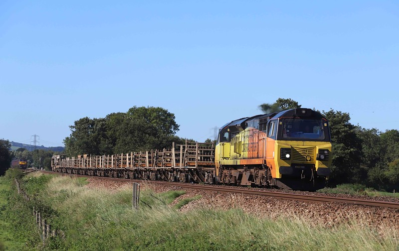 70812, 08.19 Lostwithiel-Westbury Yard, Pugham Crossing, near Burlescombe, 30-8-20. 164min early. 47804 in background tailing the Royal Duchy, hauled by 44871. See Main Line Steam folder,