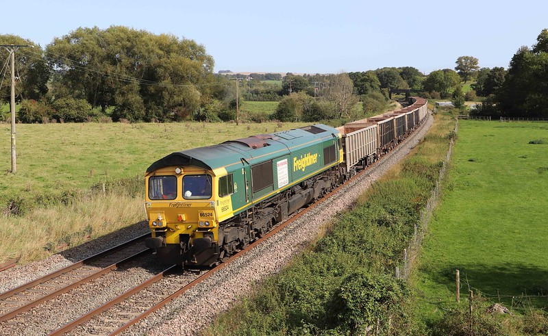 66524, 11.45 Oxford Banbury Road Sidings-Whatley Quarry, Great Cheverell, near Devizes, 17-9-20.
