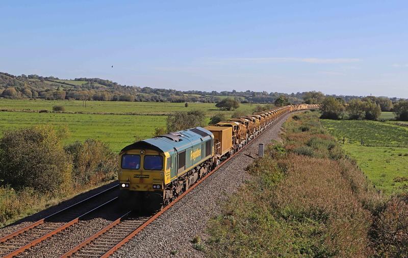 66953/66415, 08.14 Oxford-Taunton Fairwater Yard, via Melksham, Wick, near Langport, 27-9-20.