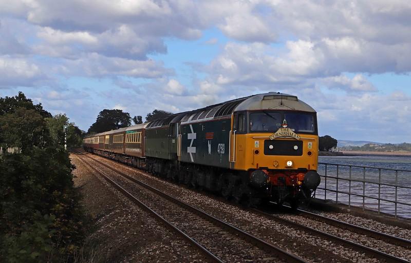 47593/47805, 06.08 York-Penzance, Cornish Riviera Statesman, day 1, Powderham, near Starcross,, 25-9-20.
