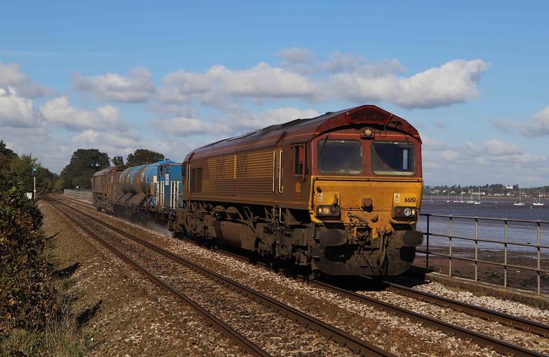66151/66155, topping and tailing 08.50 Westbury-St Blazey, via Salisbury and Westbury railhead treatment train, Powderham, near Starcross, 15-10-20.