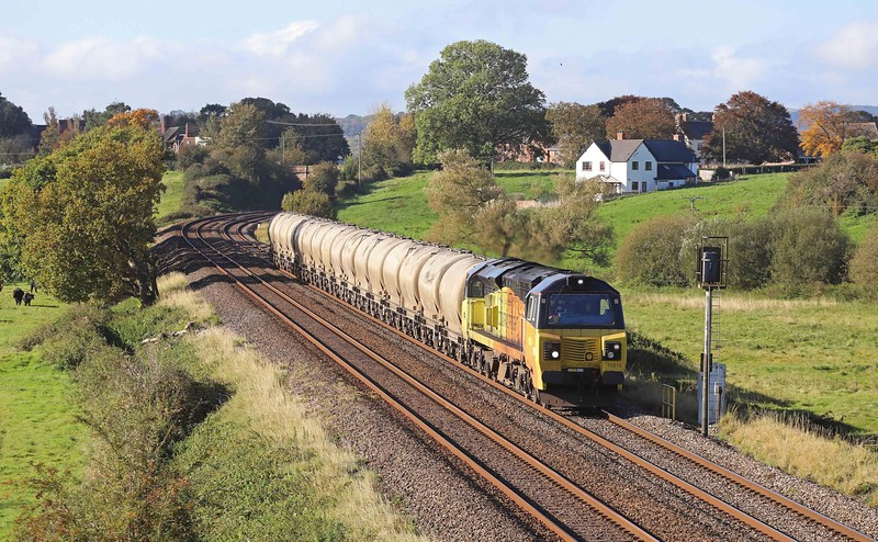 70815, 07.17 Moorswater-Aberthaw Cement Works, Rewe, near Exeter, 15-10-20.