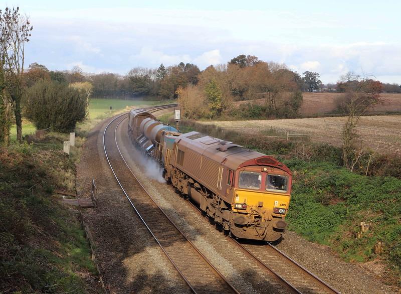 66151/66155. 08.50 Westbury-St Blazey, via Salisbury and Westbury, Willand, near Tiverton, 5-11-20.