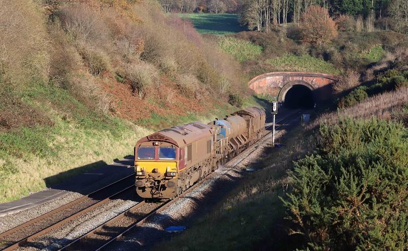 66151/66155, top-and-tail 08.50 Westbury-St Blazey, via Salisbury and Westbury, Whiteball, 27-11-20.