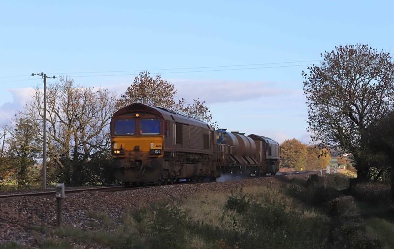 66151/66155. 08.50 Westbury-St Blazey, via Salisbury and Westbury, Pugham Crossing, near Burlescombe, 5-11-20.