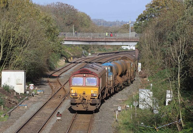 66151/66155, 08.50 Westbury-St Blazey, via Salisbury and Westbury, departing Tiverton down loop, Willand, near Tiverton, 2-11-20.