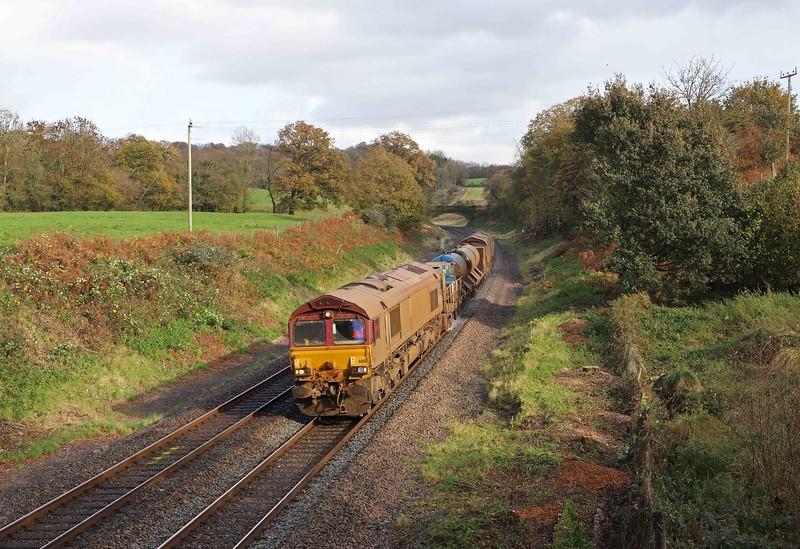 66151/66155, 08.50 Westbury-St Blazey, via Salisbury and Westbury, Whiteball, 2-11-20.