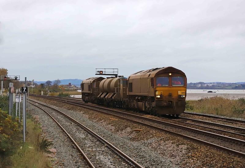 66151/66155, top-and-tail 08.50 Westbury-St Blazey, via Salisbury and Westbury, Dawlish Warren, 20-11-20.