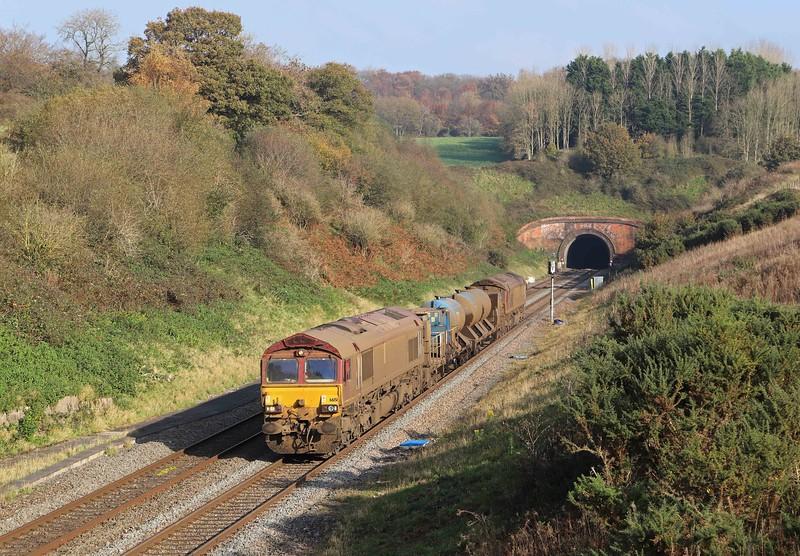 66151/66155. top-and-tail 08.50 Westbury-St Blazey, via Salisbury and Westbury, Whiteball, 6-11-20.