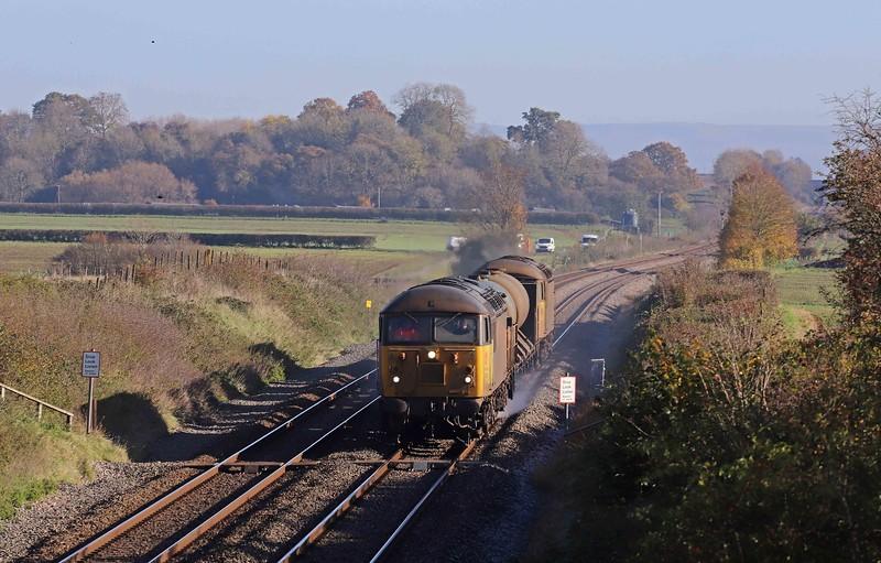 56090/56105, top-and-tail 11.08 Cheltenham Lansdown Loop-Gloucester Horton Road, via Severn Tunnel Junction, Churcham, near Gloucester, 4-11-20.