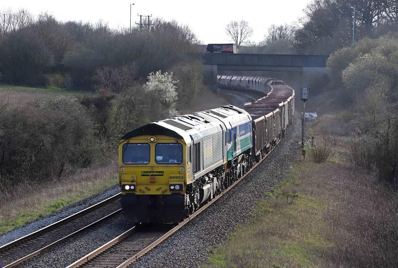 66953/59004, 17.05 Merehead Quarry-Hanwell Bridge Loop, Berkley, near Frome, 30-3-21.