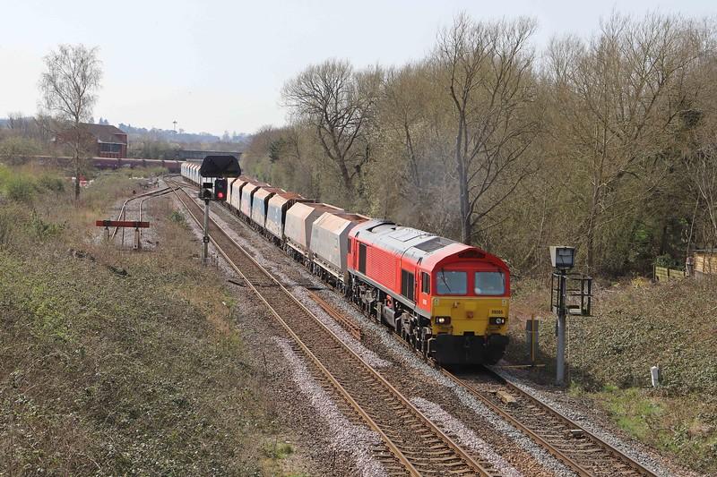 59205, 11.23 Merehead Quarry-Wootton Bassett, Hawkeridge Junction, Westbury, 30-3-21.