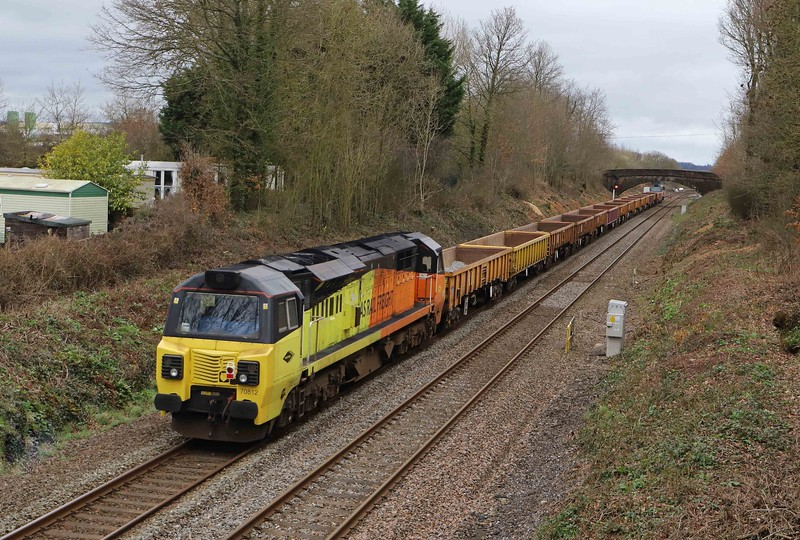 70810/70812, top-and-tail 12.55 Crediton-Westbury Yard (from a worksite on the Okehampton branch), Willand, near Tiverton, 10-3-21.