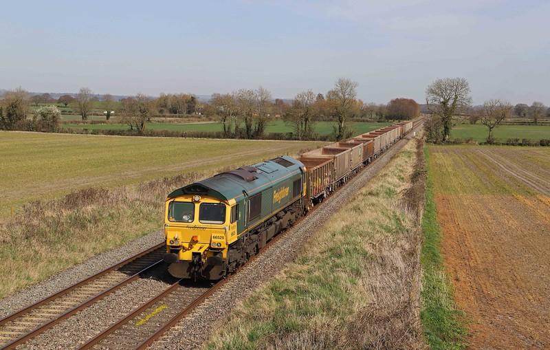 66525, 11.45 Oxford Banbury Road Sidings-Whatley Quarry, Cowleaze Lane, Edington, near Westbury, 30-3-21.