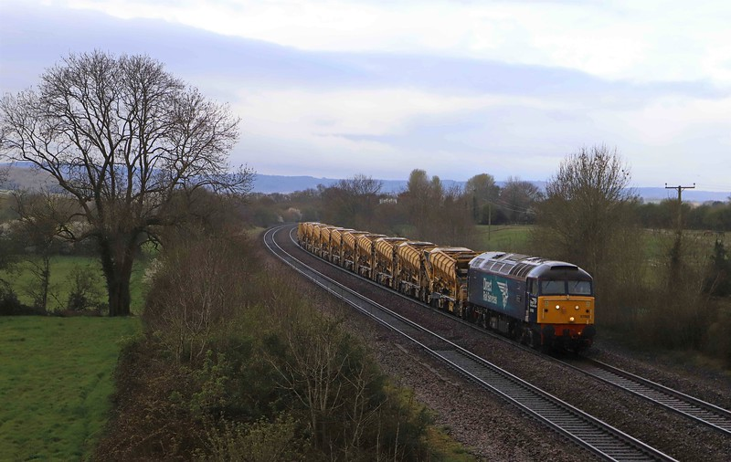 57002, 08.55 Taunton Fairwater Yard-West Ealing Plasser Sidings, Cogload Junction, near Taunton, 12-4-21.