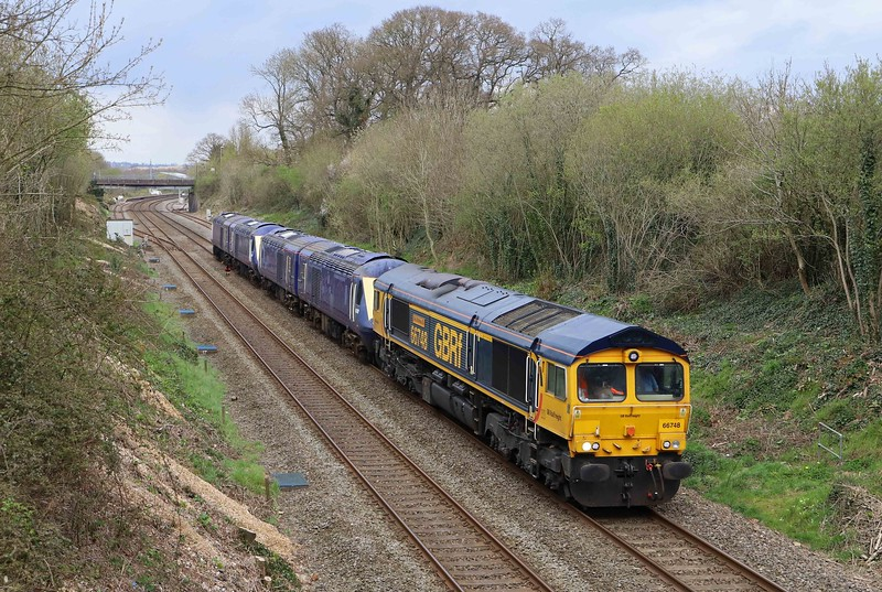 66748, 12.41 Long Marston (Warwickshire)- Plymouth Laira Traction and Rolling Stock Maintenance Depot, Willand, near Tiverton, 13-4-21, hauling HST powers cars Nos 43197, 43193, 43087, and 43056 scheduled for power unit replacement.