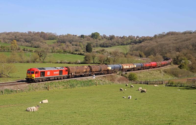 60054, 13.35 Theale-Robeston Sidings, Freshford, near Bath, 22-4-21.