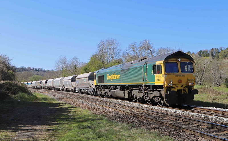 66516, 14.17 Avonmouth Bennett's Siding-West Drayton, Freshford, near Bath, 22-4-21. Departed Avonmouth almost three hours early; recessed at Bristol Stoke Gifford Yard. Passed by 4057 at Bathampton.