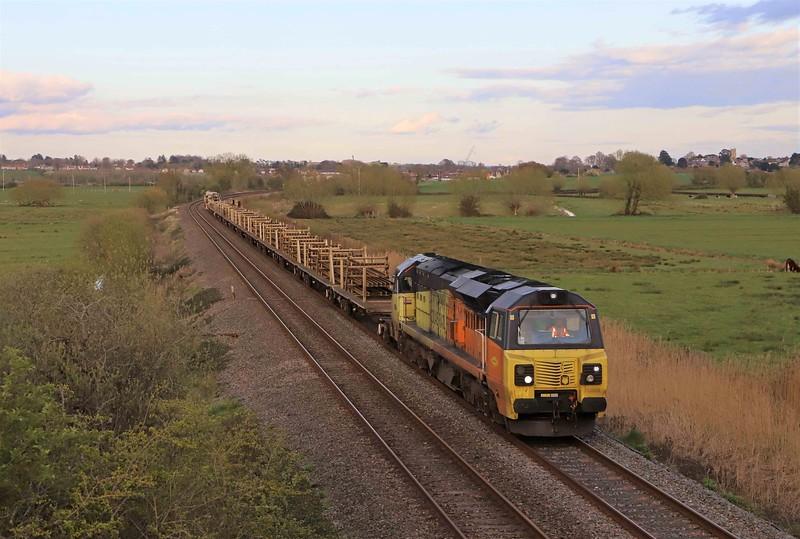 70809/70810, top-and-tail 18.11 Westbury Yard-Crediton, Wick, near Langport, 12-4-21.