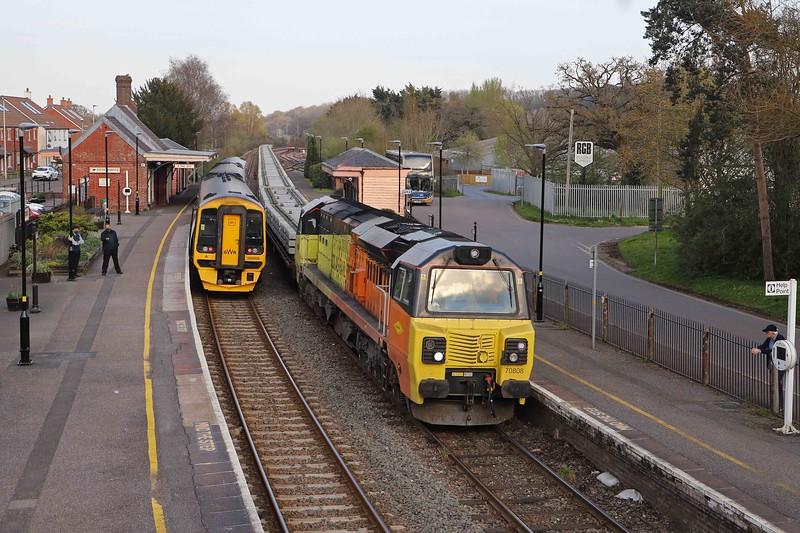 70808, 15.08 Westbury Yard-Crediton, Crediton, 18-4-21. To a worksite on the Okehampton branch. 158959, 18.28 Crediton-Exeter St James' Park.