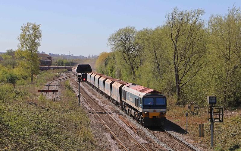59102, 11.23 Merehead Quarry-Wootton Bassett, Hawkeridge Junction, Westbury, 22-4-21.
