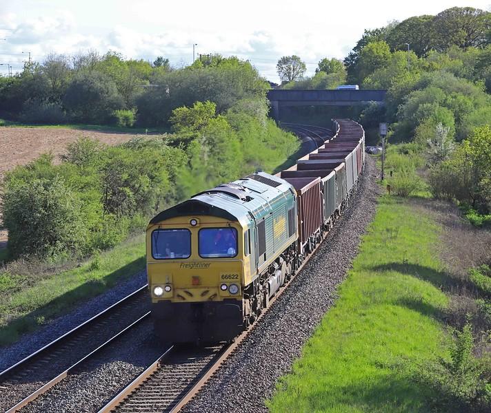 66622, 15.42 Exeter Riverside Yard-Whatley Quarry, via run-around at Westbury, Berkley, near Frome, 19-5-21.