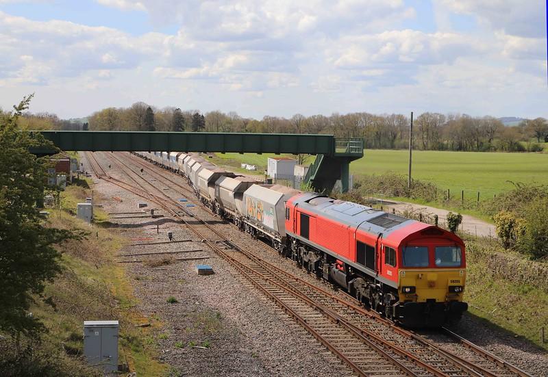 59205, 13.23 Whatley Quarry-Dagenham Dock, departing Woodborough up loop, near Pewsey, 7-5-21.