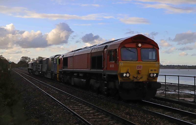 66135/66140, 19.15 Exeter Riverside Yard-Exeter Riverside Yard, viaPlymouth Friary, Exeter St Davbid's and Paignton, Powderham, near Starcross, 4-5-21.