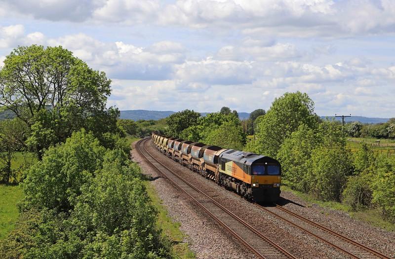 66848/70806, top-and-tail 10.59 Crediton-Westbury Yard, Cogload, near Taunton, 26-5-21.