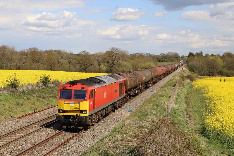 60019, 13.35 Theale-Robeston Sidings, slowing to enter Woodborough down loop, 7-5-21.