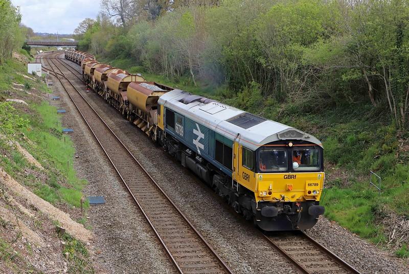 66789/66729, 09.25 Westbury-Crediton, via Exeter Riverside Yard, departing Tiverton down loop, Willand, near Tiverton, 6-5-21. For Okehampton branch project.