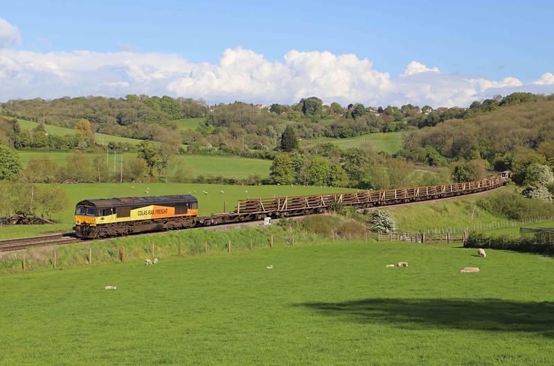 66848/66846, top-and-tail 17.23 Westbury Yard-Bargoed, Freshford, near Bath, 19-5-21.