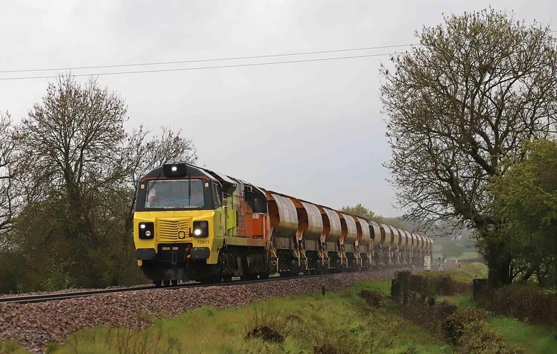 70811, 05.38 Westbury Yard-Crediton. Pugham Crossing, near Burlescombe, 13-5-21. Penultimate ballast for the Okehampton branch.