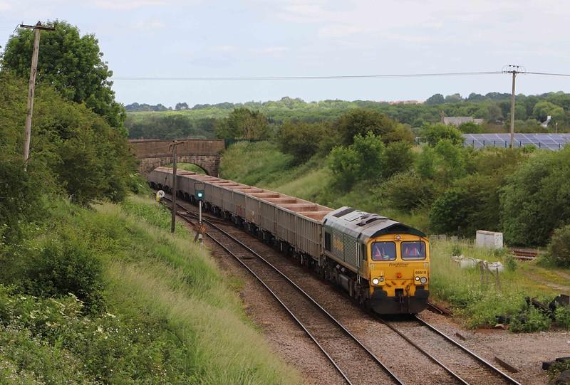 6616, 11.30 Avonmouth Hanson's Sidings-Whatley Quarry, Hawkeridge Junction, Westbury, 16-6-21.