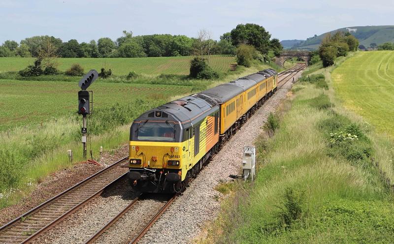 67023/67027, top-and-tail 08.20 Tyseley (Birmingham)-Bristol High Level Siding, via Weymouth, Fairwood, near Westbury, 16-6-21.