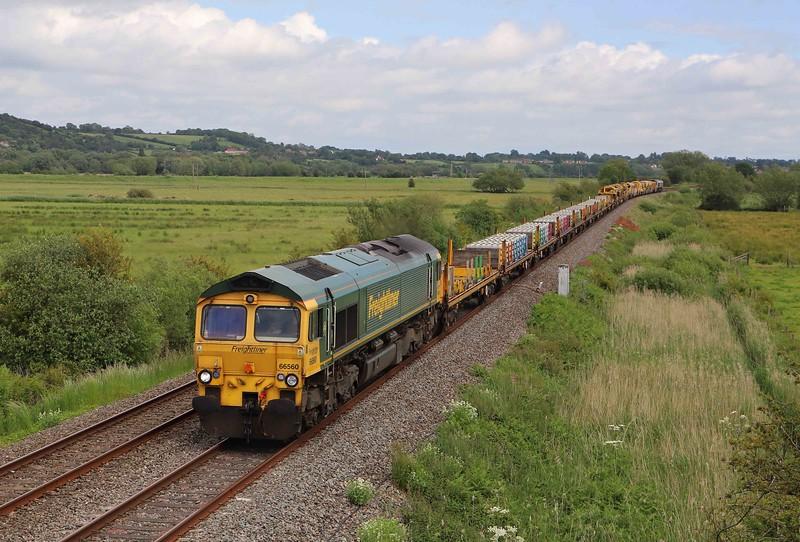 66560/66951, top-and-tail 19.52 Newcastle Tyne Yard-Taunton Fairwater Yard, Wick, near Langport, 10-6-21.