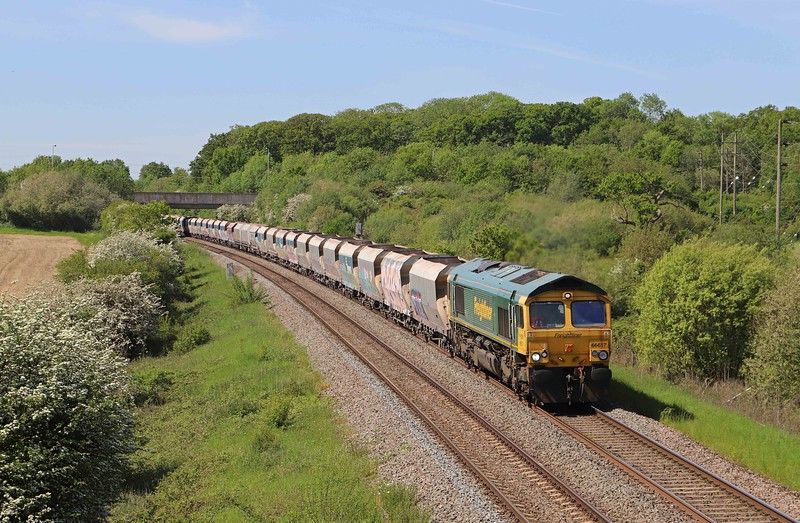 66617, 08.58 Whatley Quarry-Theale, Berkley, near Frome, 1-6-21. 90min late. Load x 30.