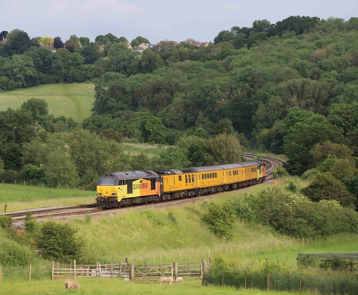 67027/67023, top-and-tail 08.20 Tyseley (Birmingham)-Bristol High Level Siding, via Weymouth, Freshford, near Bath, 16-6-21.