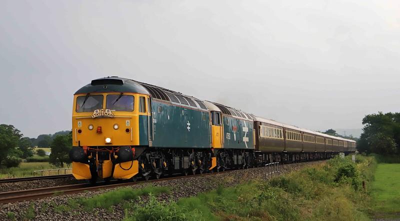 47614/47593, 15.24 Penzance-Shrewsbury, Cornish Riviera Statesman, Pugham Crossing, near Burlescombe, 7-7-21.