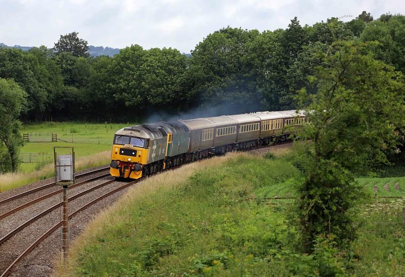 47593/47614, 05.00 Shrewsbury-Penzance, Cornish Riveira Statesman, Willand, near Tiverton, 7-7-21.