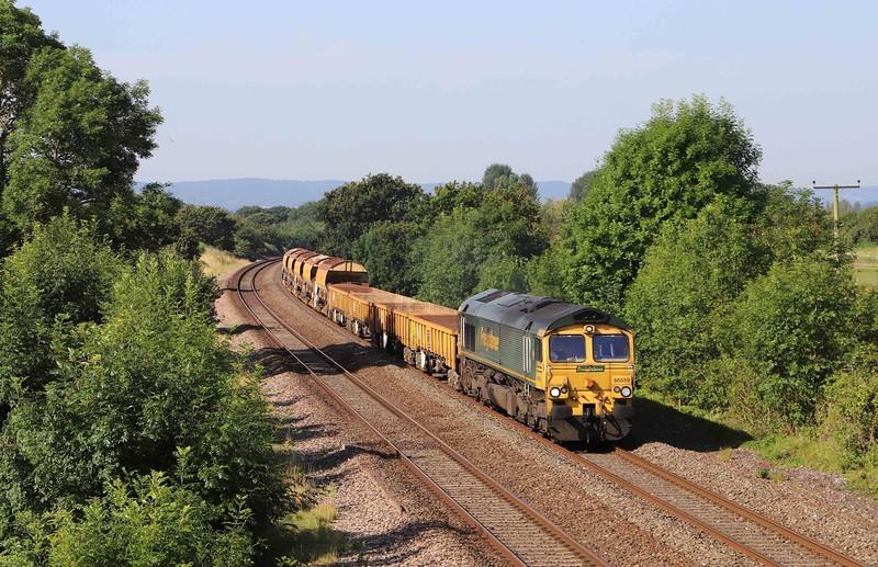 66559, 08.40 Taunton Fairwater Yard-Westbury, Cogload Junction, near Taunton, 19-7-21.