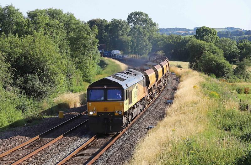 66850/66849, top-and-tail 15.03 Lostwithiel-Westbury Yard, Willand, near Tiverton, 18-7-21.