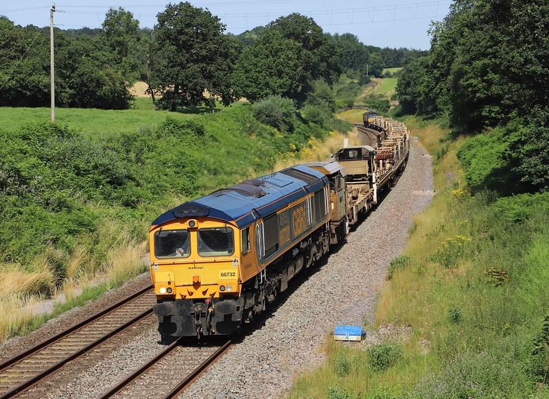 66732/66848, 14.27 Westbury Yard-Burngullow Junction, Whiteball, 21-7-21.