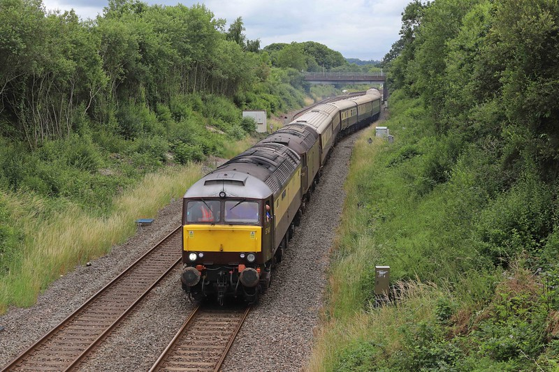 57601/57314 top-and-tail with 47802, 11.24 Bristol Temple Meads-Par, Northern Belle, restarting from Tiverton down loop at Willand, near Tiverton, 9-7-21, following 1hr 50min delay, 47802 sent to rescue from Southall and attached to rear of train after 57314 failed.